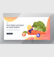 healthy food choice website landing page young vector image vector image