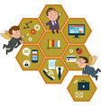 honeycomb structure with interface icons vector image