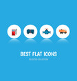 icon flat fuel set of gas station tanker truck vector image