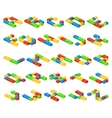 isometric 3d alphabet letters made vector image