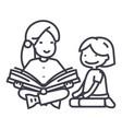 kindergarten teacherwoman reading book to girl vector image vector image