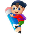 little boy holding large pencil vector image