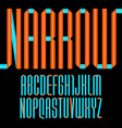 modern alphabet folded of paper tape narrow font vector image vector image