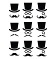 Mustache or moustache with hat and glasses icons vector image vector image