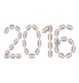 New Year 2016 made in rainbow colors vector image