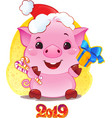 pig with gift box for the new year 2019 vector image vector image