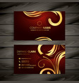 premium luxury red business card with golden vector image vector image