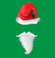 Realistic santa red hat beard on green background
