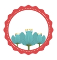 red circle and flowers graphic vector image vector image