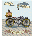 Retro banner with a cup of coffee and motorcycle vector image vector image