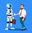 robot with briefcase shakes hands with businessman vector image vector image