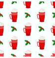 seamless christmas and new year pattern holly vector image vector image