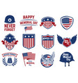 Set of memorial day emblems design elements for vector image
