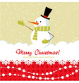 Snowman card red vector image vector image