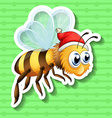 Sticker of bee wearing christmas hat vector image vector image