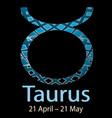 taurus ornamental decorative zodiac sign vector image