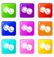 tennis ball icons set 9 color collection vector image vector image