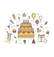 Thin line happy birthday party modern vector image vector image