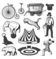 vintage circus elements collection vector image vector image