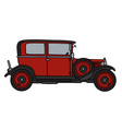 Vintage red small car vector image