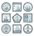 vintage ships and vessels stamps set vector image vector image
