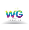 wg w g colorful letter origami triangles design vector image vector image