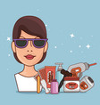 woman face with hair removal icons vector image