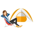 Woman sitting in folding chair vector image vector image