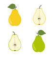 yellow and green pear slice pears vector image