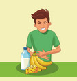 young with stomach ache vector image