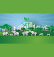 animal wildlife in green park landmarks cityscape vector image vector image