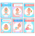 bashower cute bawith feeding bottle set vector image vector image