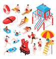 beach lifeguard isometric set vector image