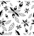 black and white hand drawn abstract flowers vector image