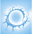 blue water splash with many water drops vector image