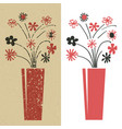 bunch flowers in red and black grunge and plain vector image