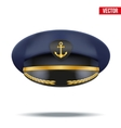 Captain peaked cap with gold anchor on cockade vector image vector image
