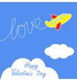 Cartoon helicopter Dash word LOVE Valentines Day vector image