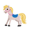 cartoon horse with a blue saddle vector image vector image