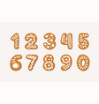 cartoon set of gingerbread arabic numbers vector image vector image