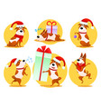 christmas cartoon dog emoticons emoji stickers vector image vector image