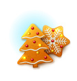 Christmas icons with gingerbread vector image