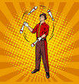 circus juggler pop art style vector image vector image