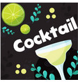 cocktail lemon glass of cocktail background vector image