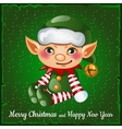 Cute and happy Christmas elf vector image vector image