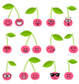 cute cherry icons with different emotions vector image