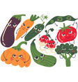 cute funny vegetables with smiling faces set vector image vector image