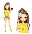 Cute Girl In Yellow Blouse vector image