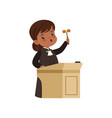 cute judge girl cartoon character standing at vector image vector image