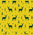 deer in a winter forest yellow seamless vector image vector image